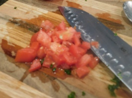 Chopped tomatoes are always tasty
