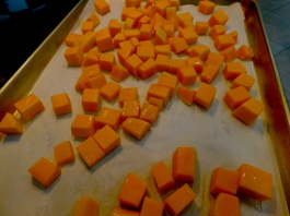 Butternut squash ready to roast