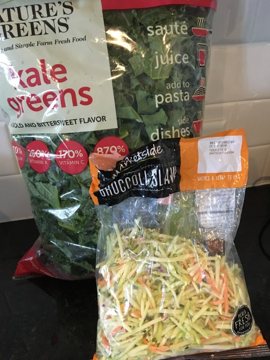 Save time and buy bagged greens and slaw!