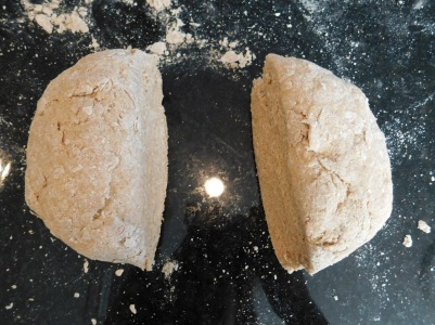 Divide the dough in half