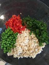 Rice, peas, kale and red pepper
